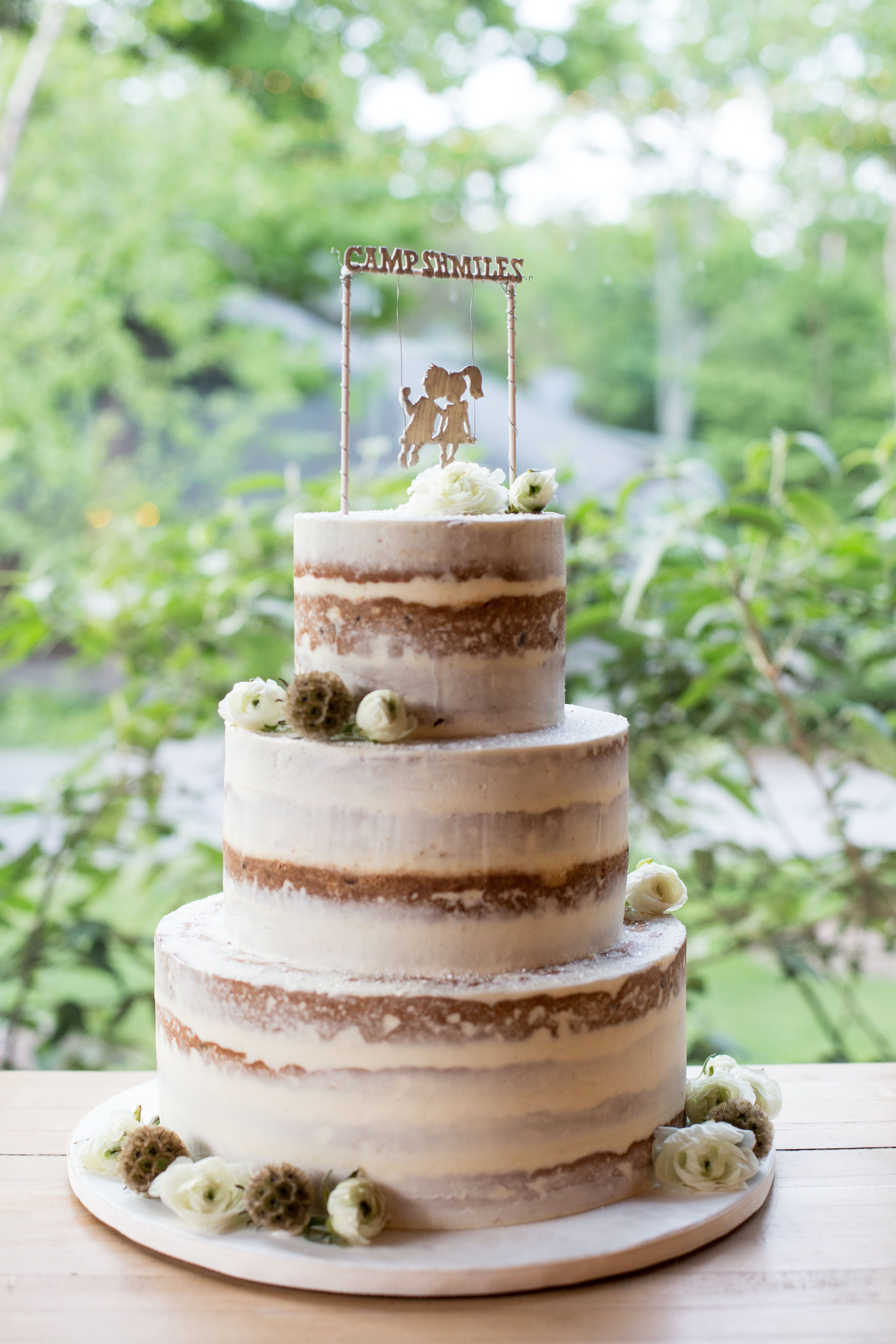 Rustic Camp Themed Naked Wedding Cake