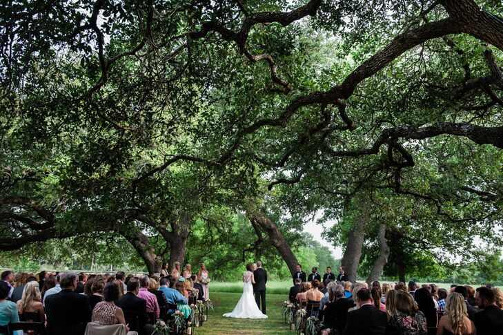 "The couple knew that a move to Austin was in their future, so they thought it would be special to get married in the city where they would start their lives together. ""The Vineyards at Chappel Lodge had all the elements I was searching for; it is secluded, has beautiful grounds, a vineyard, wildflowers and huge oak trees."""