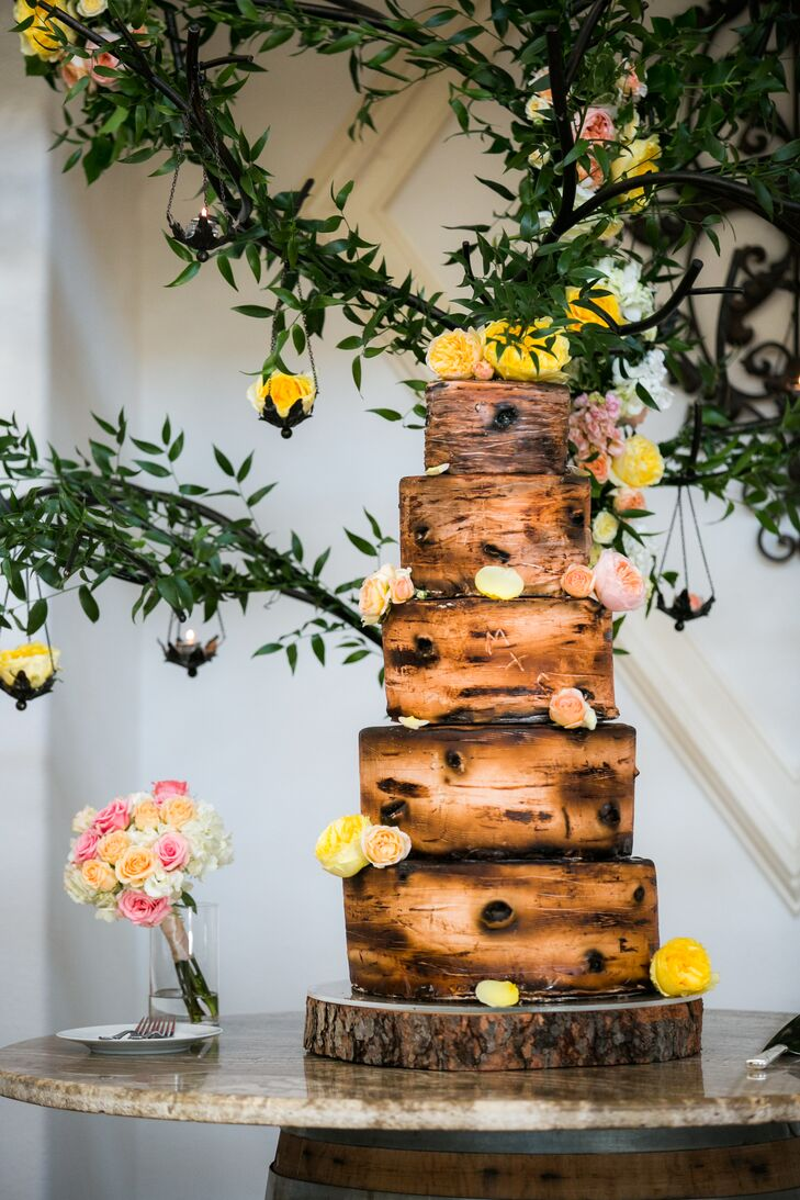 rustic whimsical wedding cakes whimsical birch bark inspired wedding cake 19592