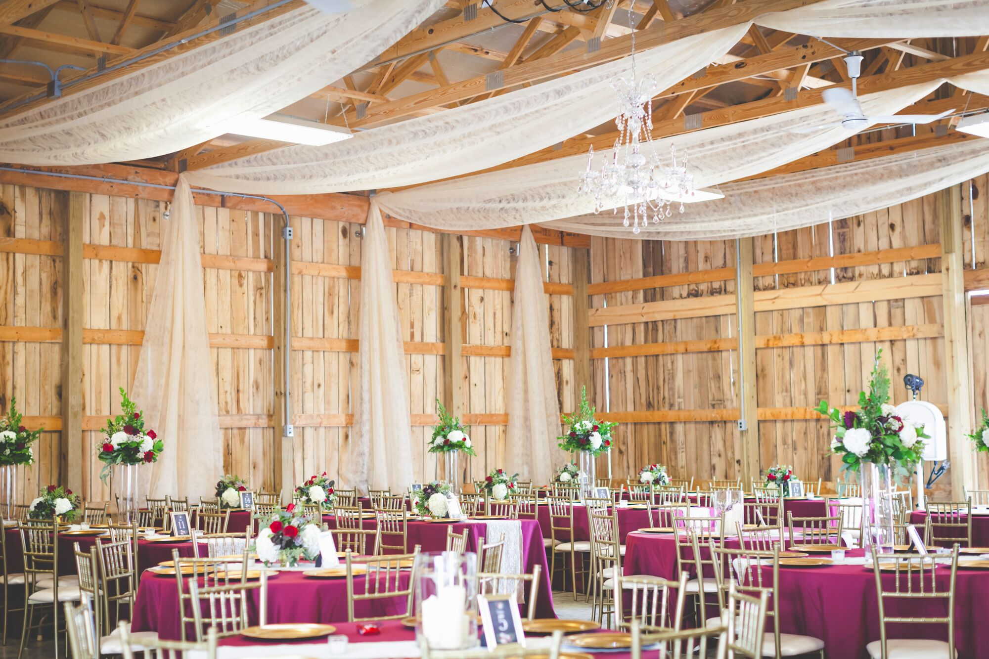 Burgundy And Gold Shabby Chic Reception