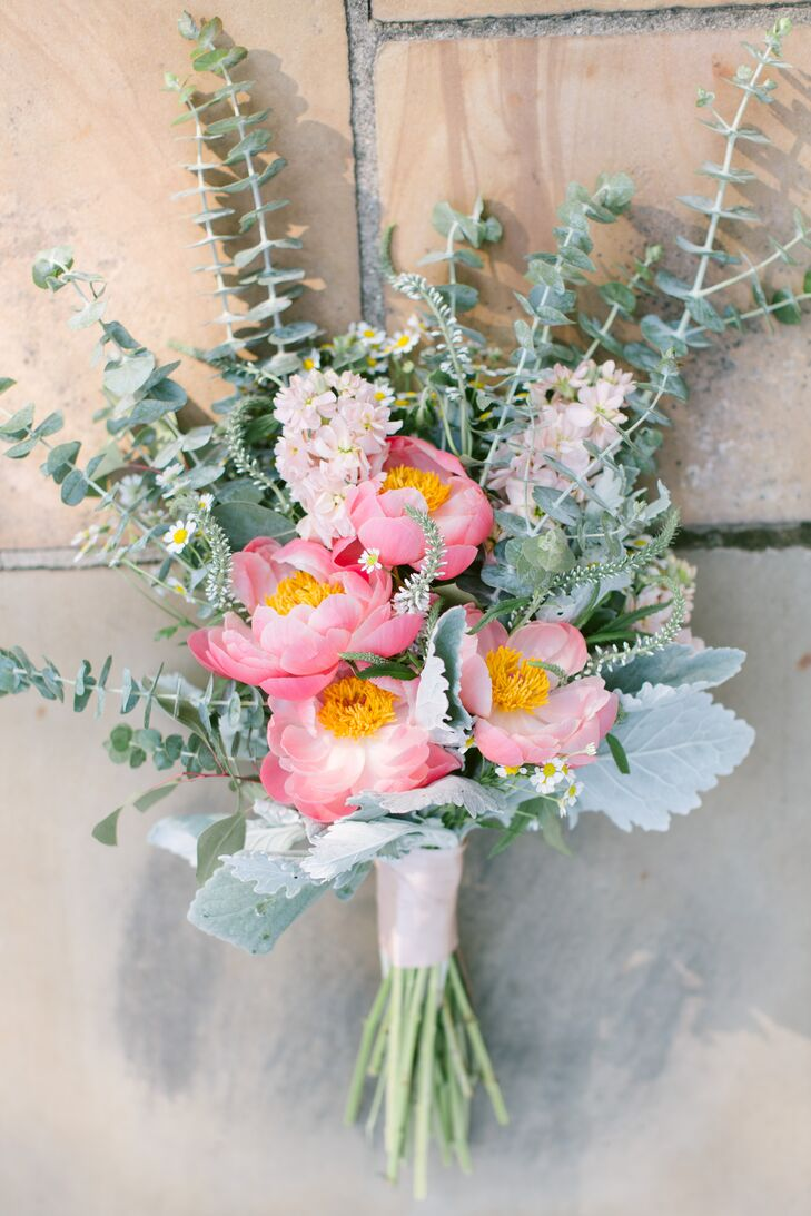 The bridal bouquet had gorgeous pink peonies with yellow centers as the focal point, surrounded by pink stock, dusty miller and other leafy greens.