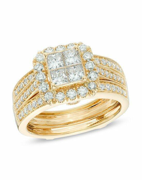 Zales 1 1 2 CT T W Princess Cut Quad Diamond Bridal Set in 14K Yellow Gold