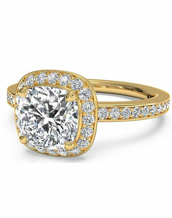 Ritani Cushion Cut Halo Micropave Diamond Band Engagement Ring in 18kt Yellow Gold (0.28 CTW) Engagement Ring photo
