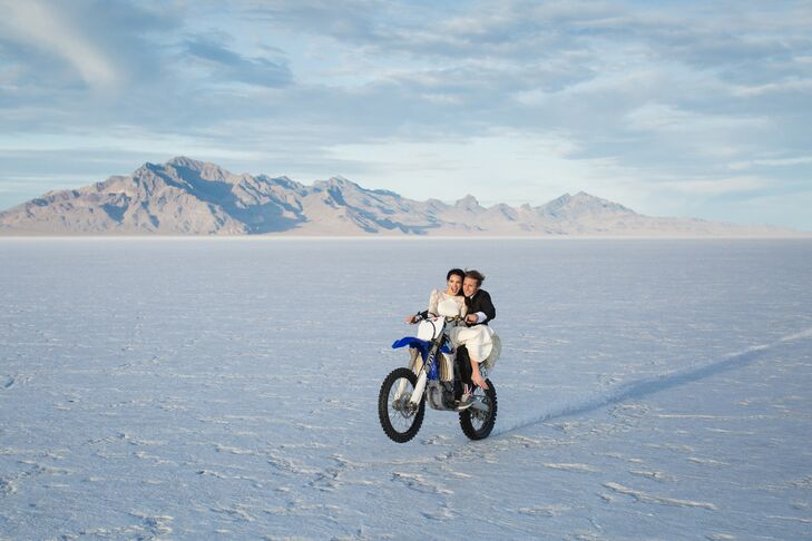 Heather and Ethen on Mountain Bike on Utah Salt Flats