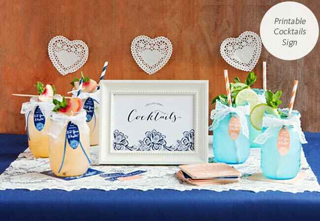DIY printable cocktail sign for your wedding reception: My Own Labels / TheKnot.com
