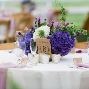 Tall Purple Wedding Flower Centerpiece