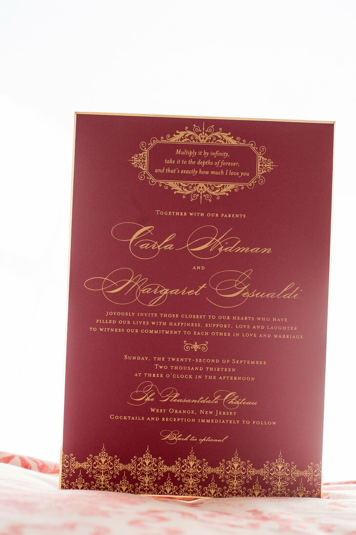 Deep Red and Gold Formal Invitations