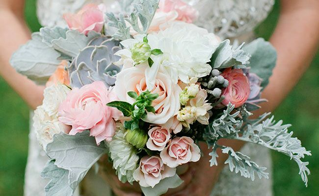 used wedding bouquets dusty miller leaves are the textured accent for 8208