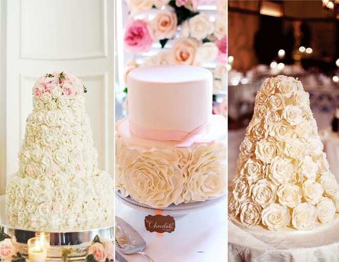 Sugar rosette wedding cake