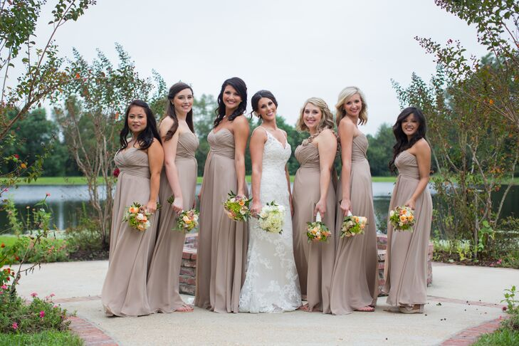 Mocha Empire-Waist Allure Bridesmaid Dresses