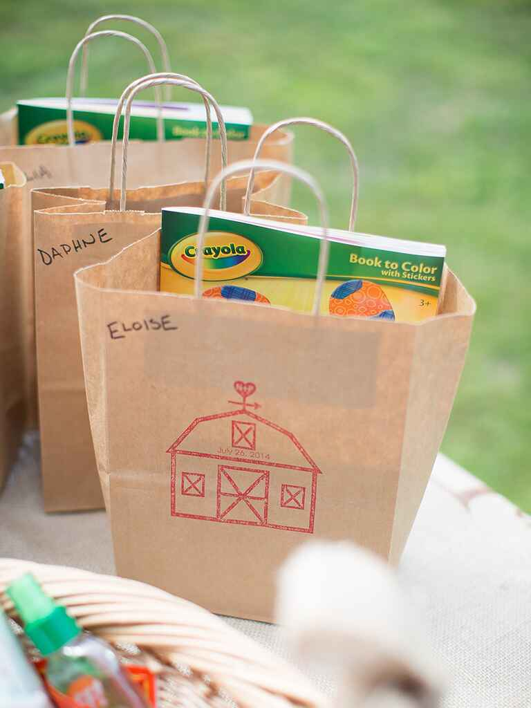 Kids activity kits for a fun wedding reception idea
