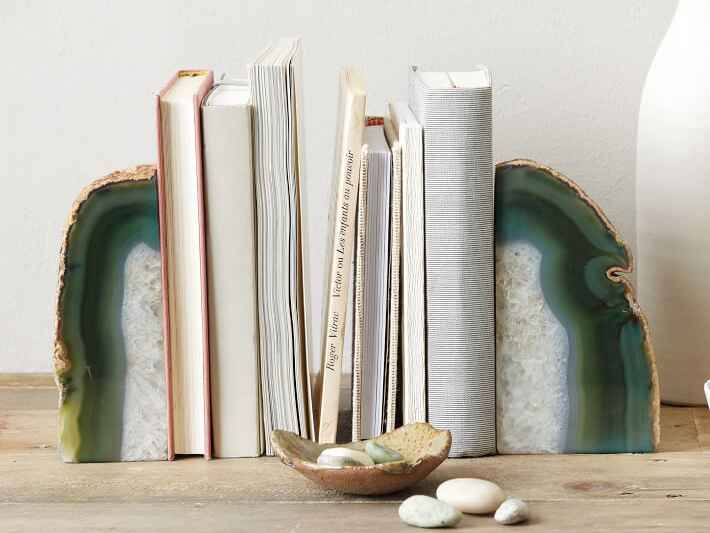 Green geode bookends from West Elm