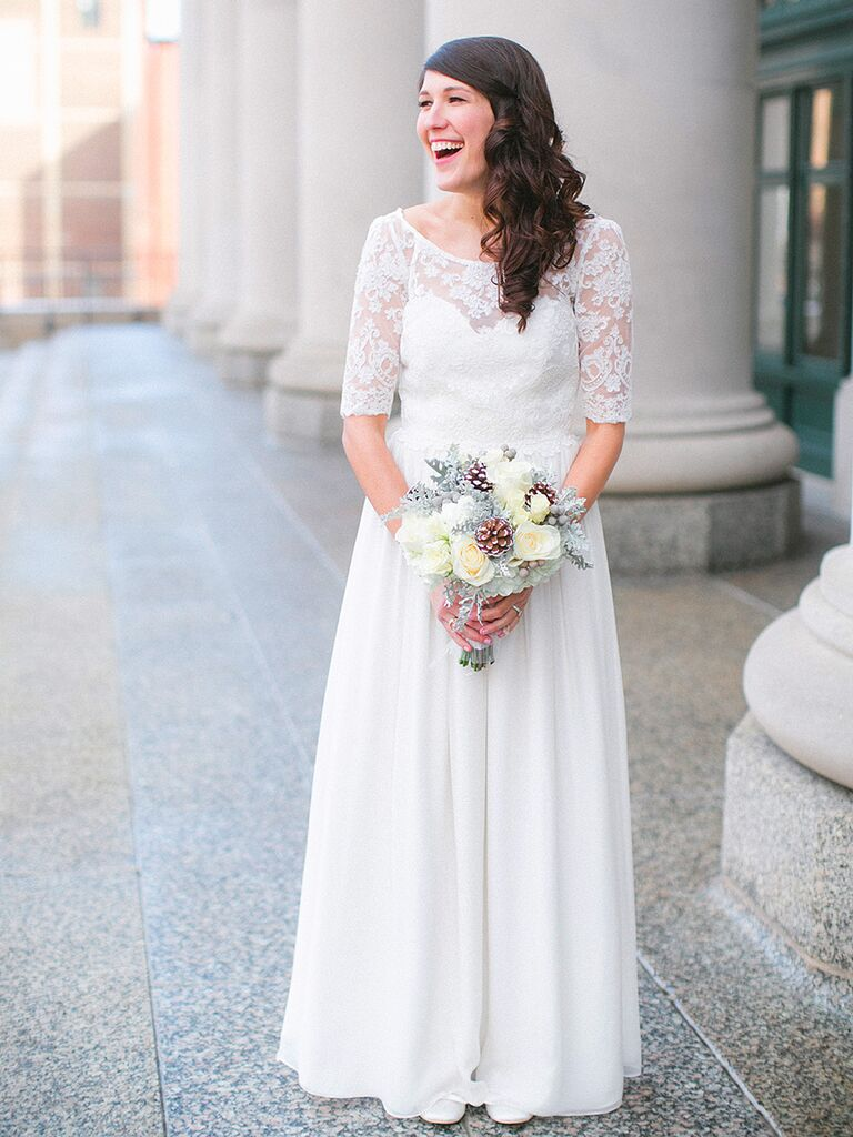 14 gorgeous lace wedding dresses with sleeves quarter sleeve lace wedding dress junglespirit Choice Image