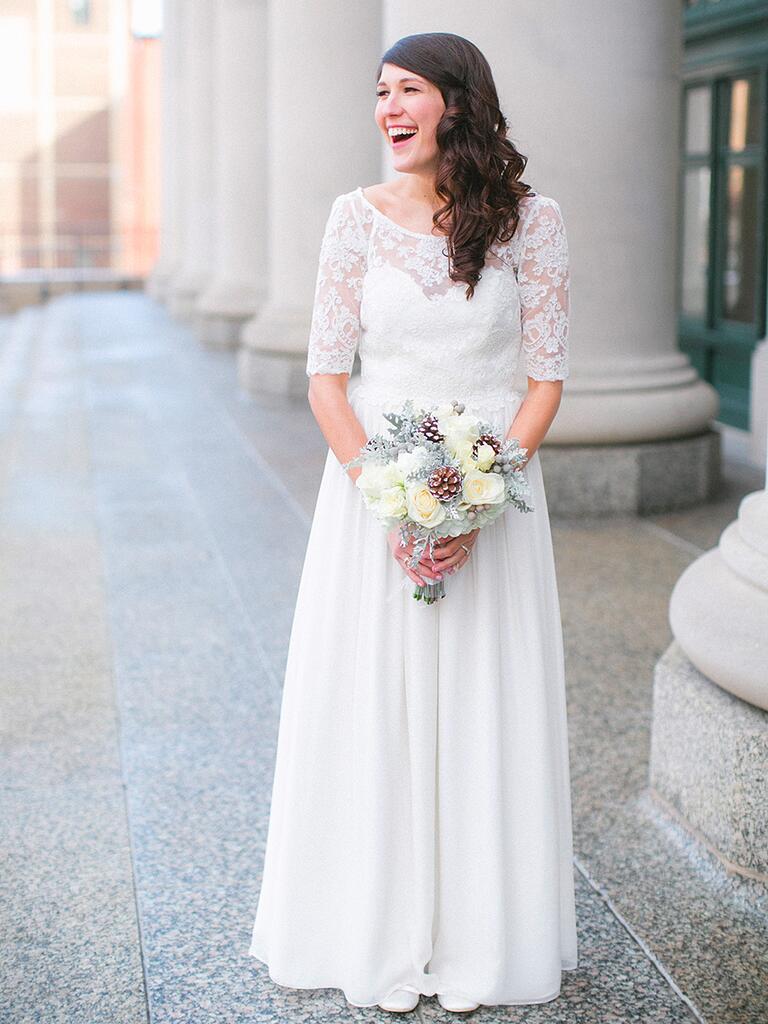 Quarter sleeve lace wedding dress