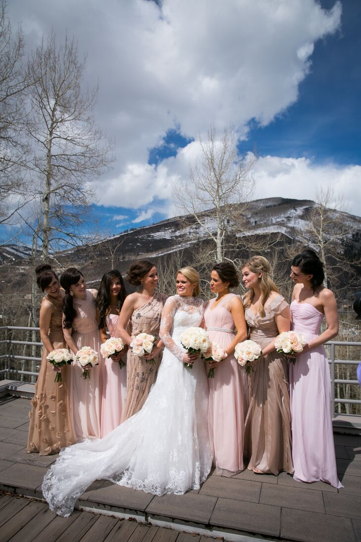 Mismatched Champagne And Blush Bridesmaid Dresses
