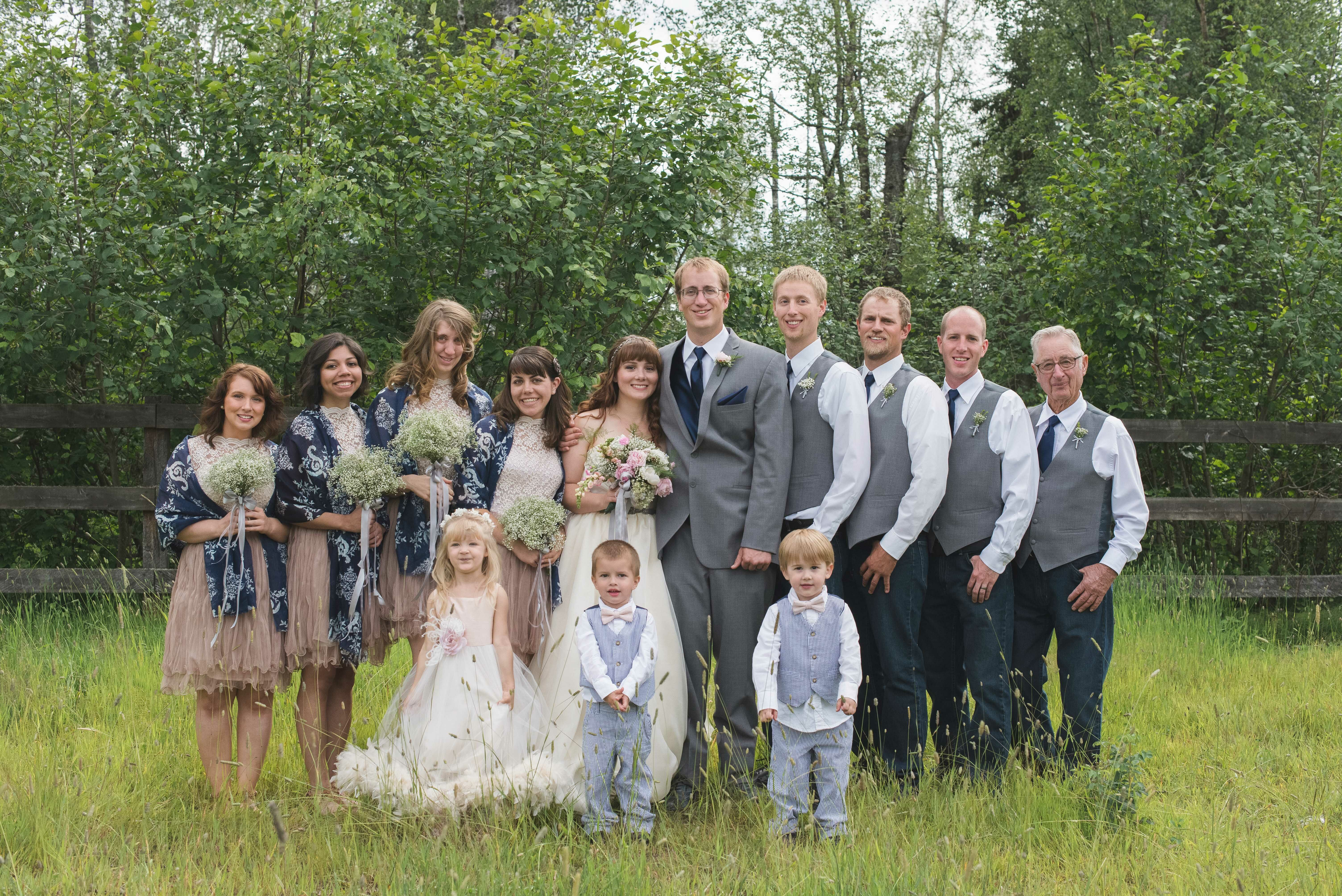 Casual Gray Blush and Navy Wedding Party