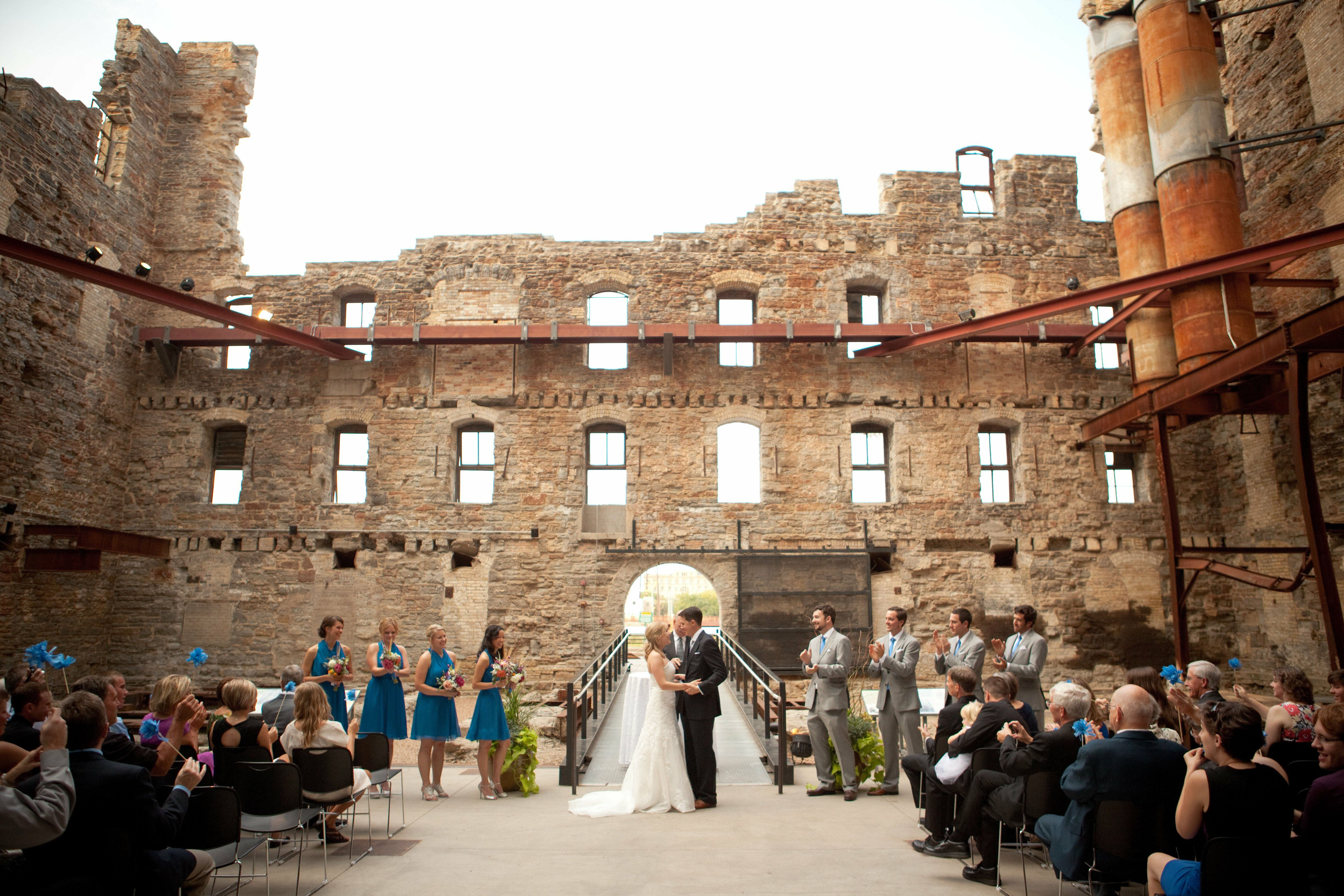 Mill city museum outdoor courtyard ceremony for Cheap wedding locations nyc