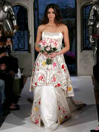 strapless wedding dress with colorful floral embroidery