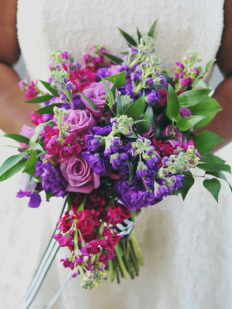 Jewel Tone Palette Bright Pink And Purple Wedding Bouquet