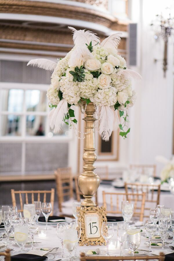 Tall White Rose And Feather Centerpieces