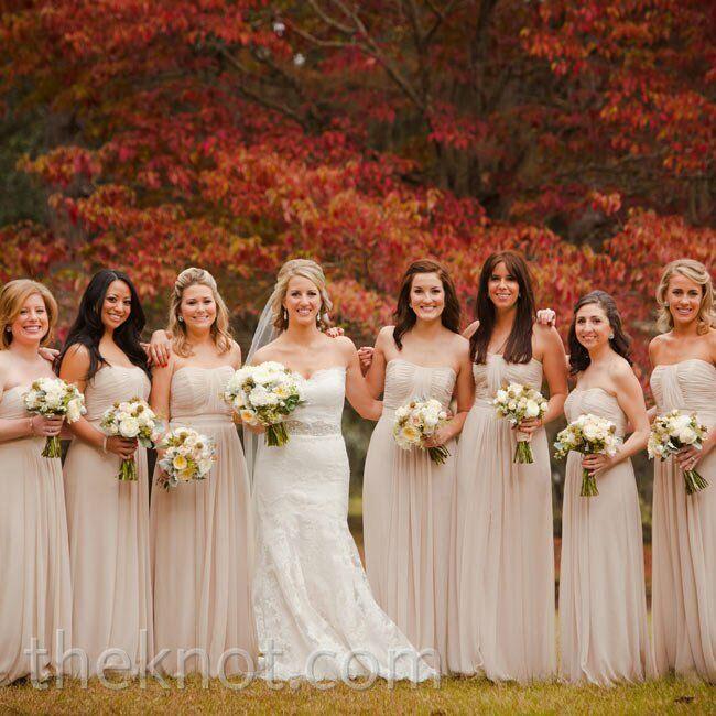 Floor length champagne wedding dresses for Flowers for champagne wedding dress
