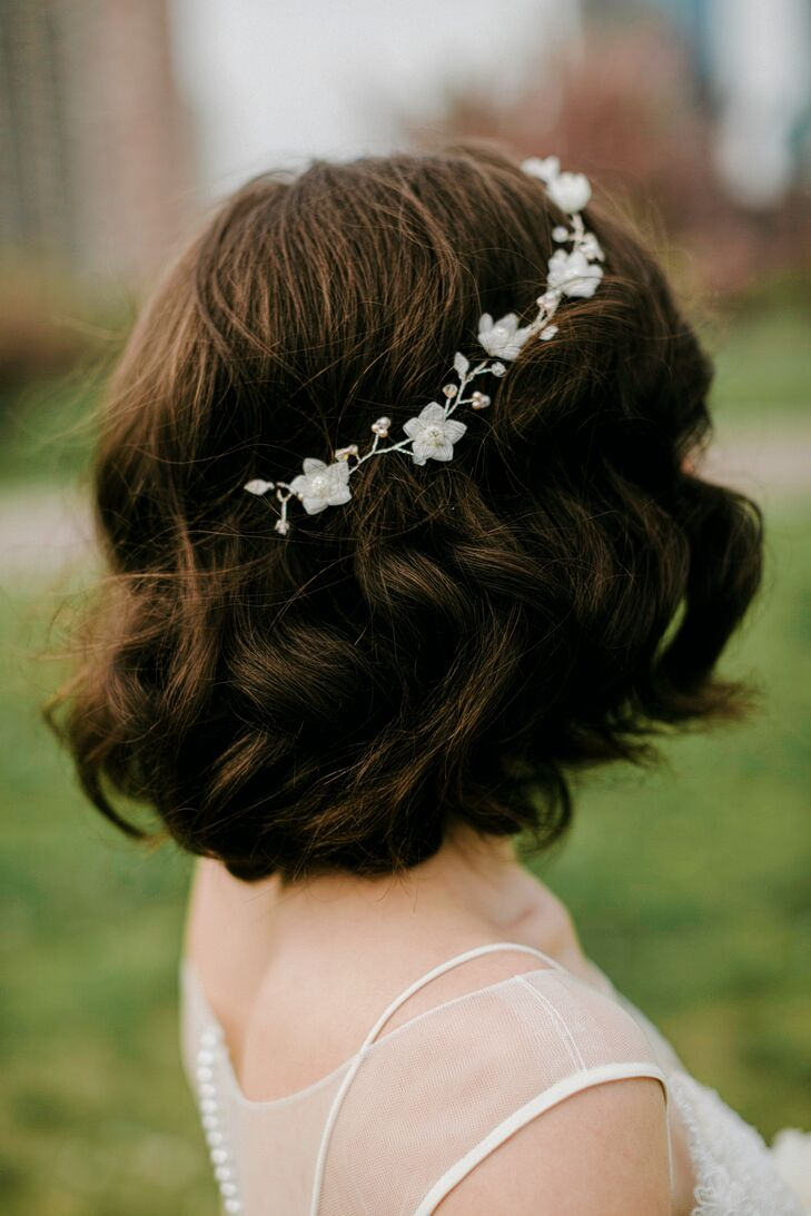 Short, Curly Bridal Hairstyle With Headband