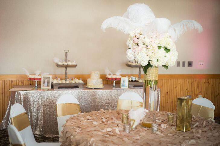 Tall White Hydrangea Centerpiece With Feathers