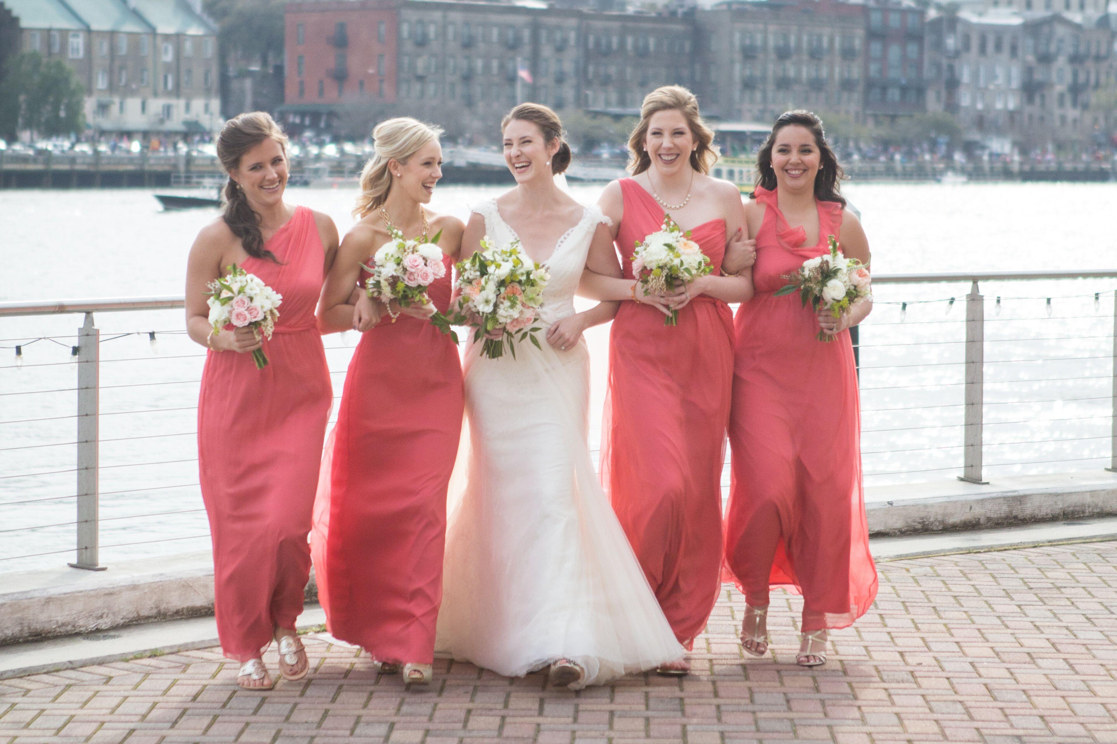 Long Coral Amsale Bridesmaid Dresses