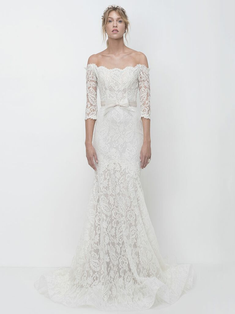 Lihi Hod Fall 2018 wedding dresses off-the-shoulder lace gown with bow detail