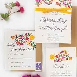 colorful wedding invitation suite