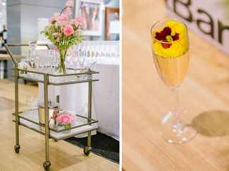 renee bar cart and champagne cocktail