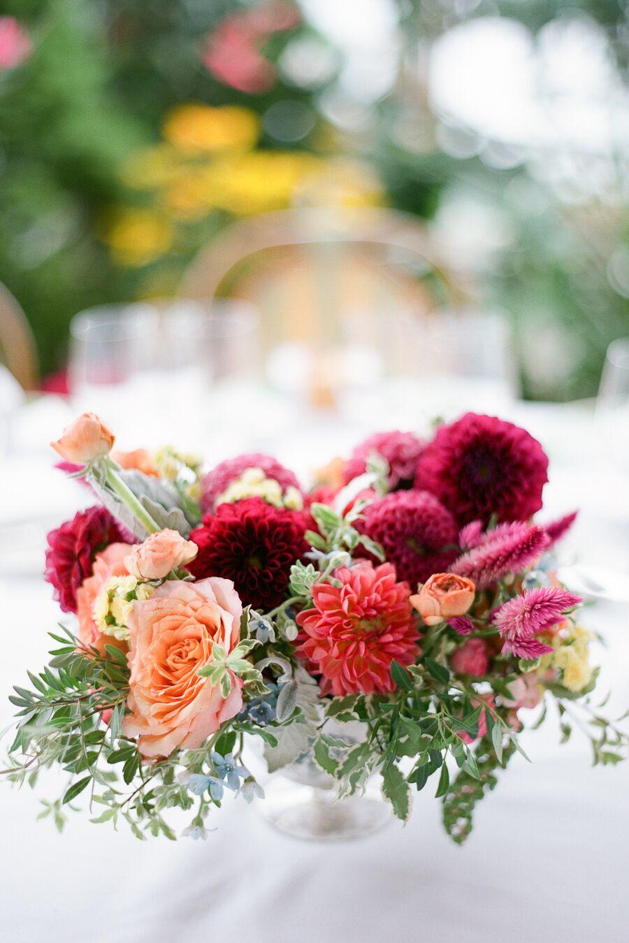 Peach Rose And Burgundy Dahlia Centerpieces