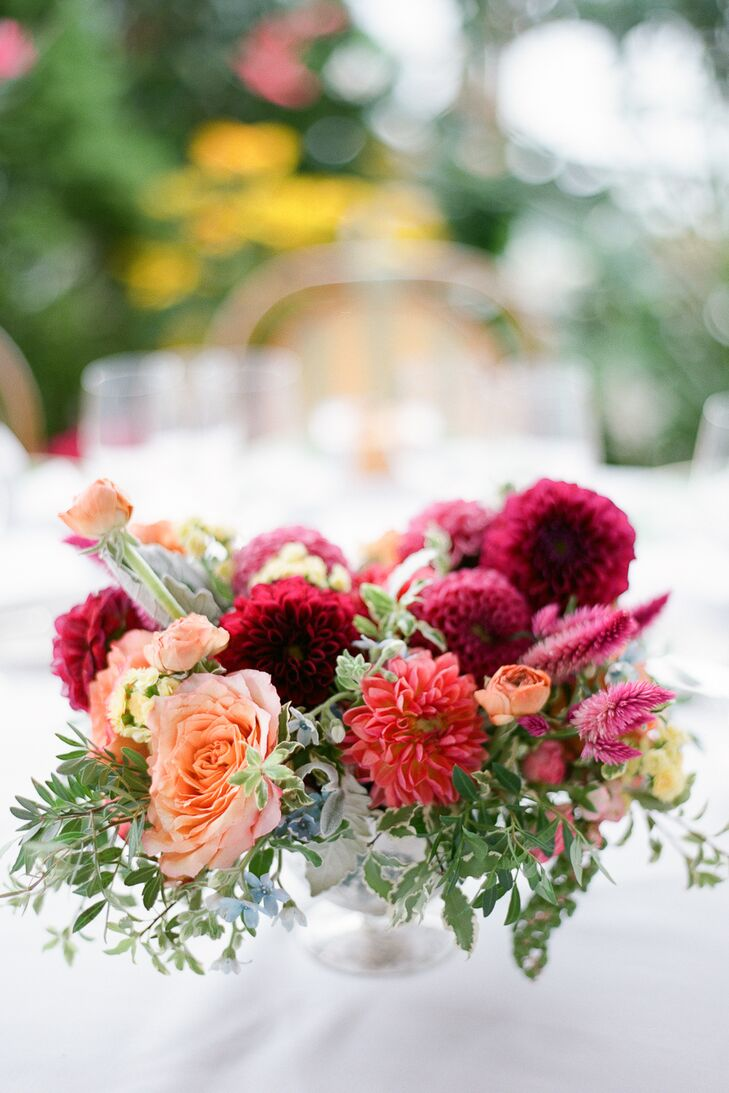 Peach rose and burgundy dahlia centerpieces