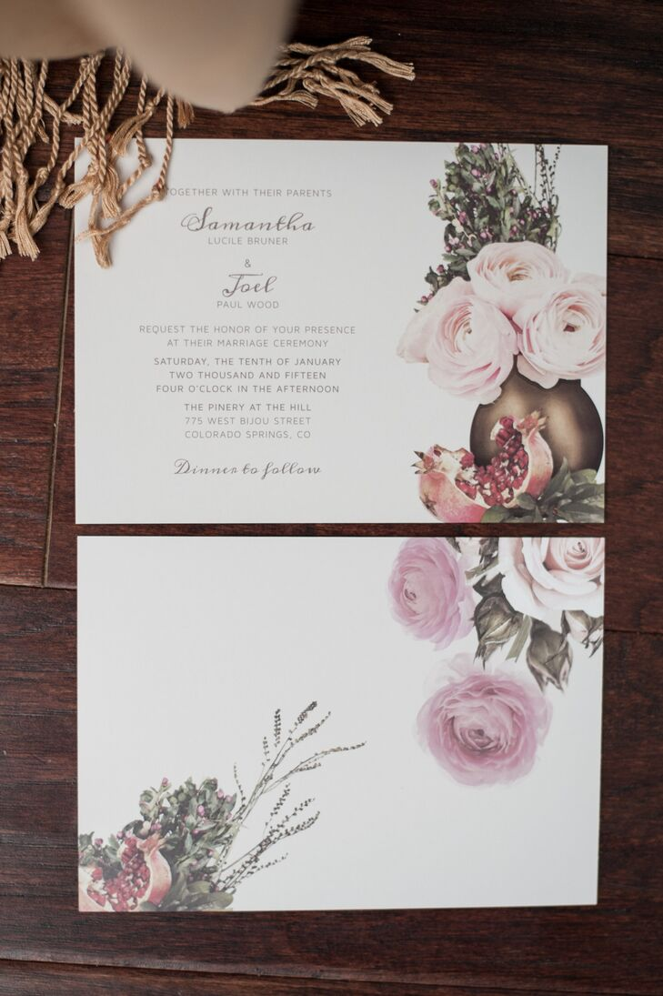 Pomegranate- and Rose-Decorated Invitation Suite