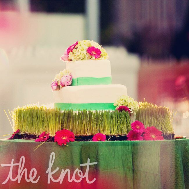 The three-tiered, banded cake was scattered with pink and green flowers and rested on a bed of grass.
