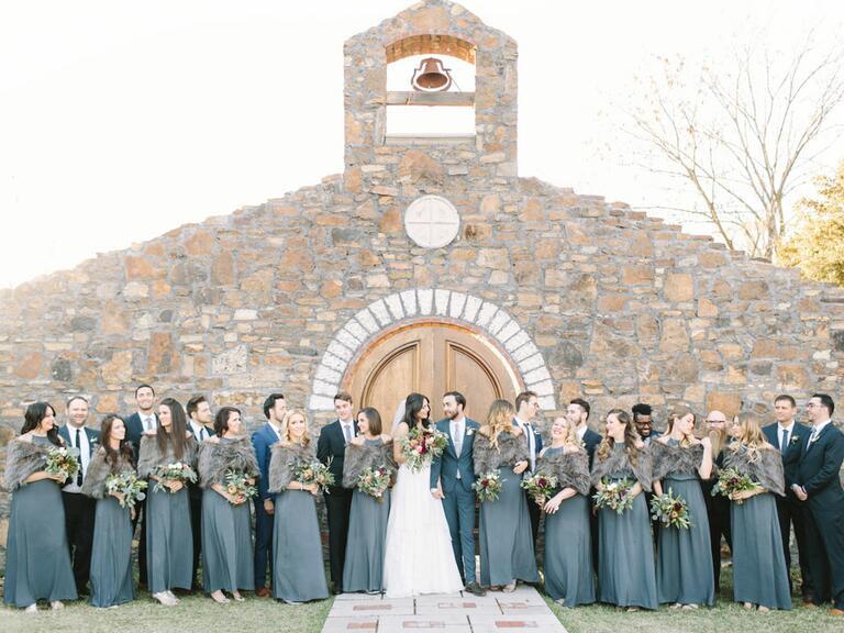 wedding party standing outside in Fayettville, Arkansas