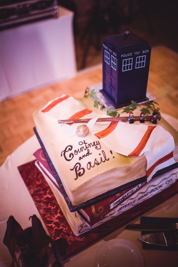 Whimsical Harry Potter and Dr Who Inspired Wedding Cake