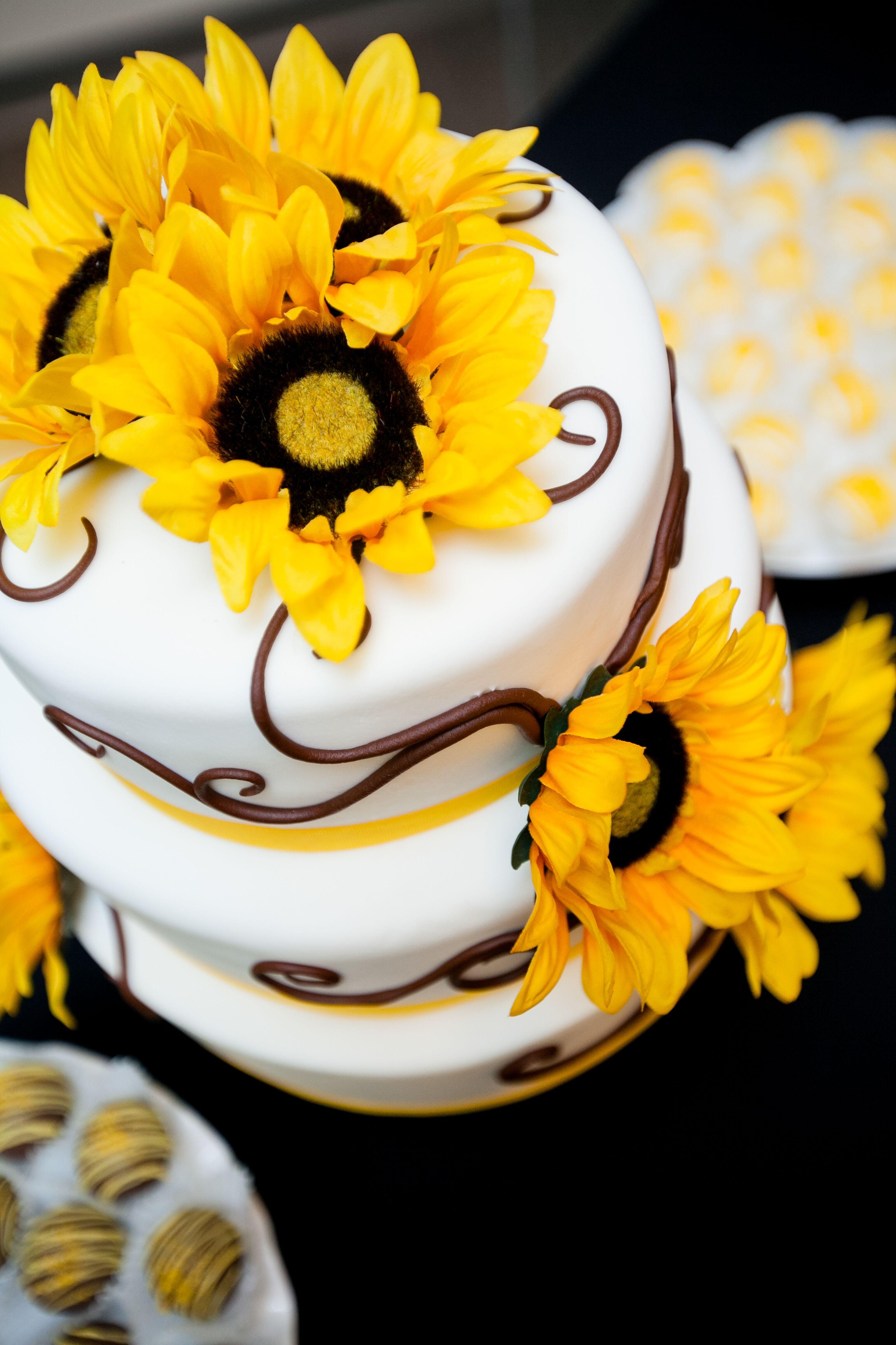White Wedding Cake With Sunflower Decor