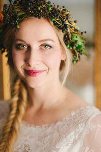 Winter flower crown made with viburnum dentate berries