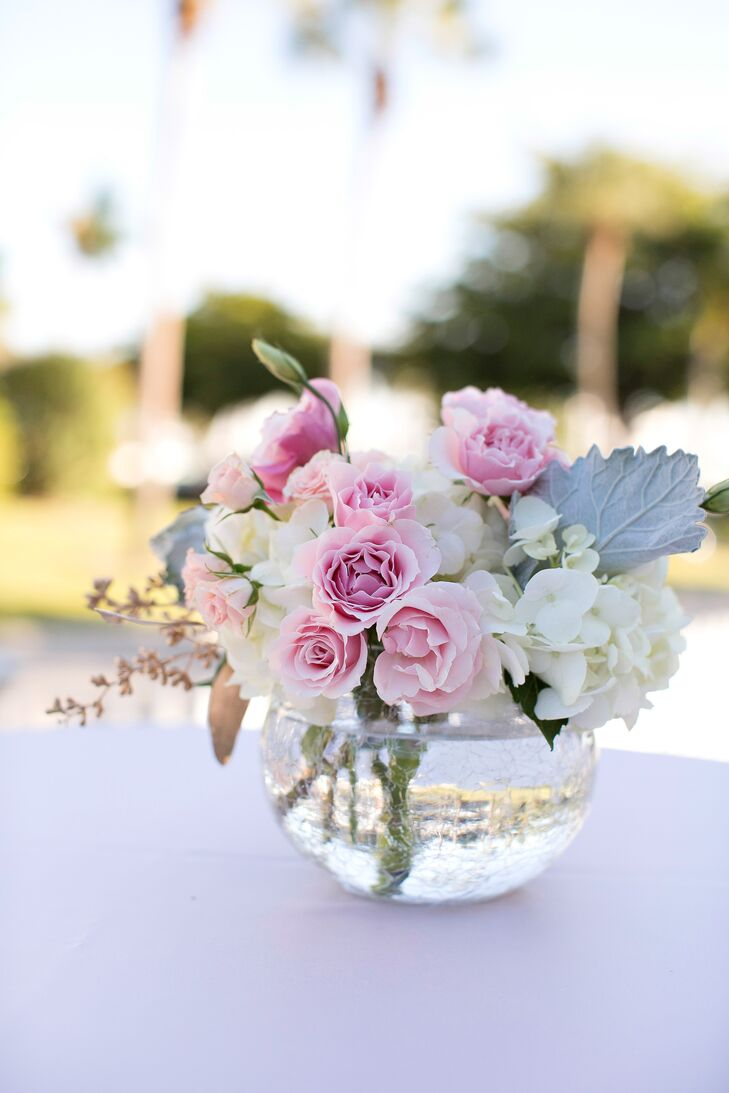 Tea rose and hydrangea cocktail table centerpiece