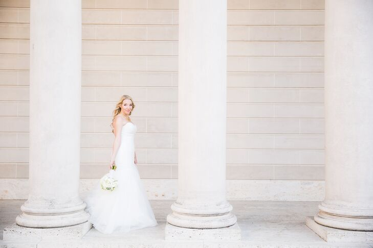 When Robin tried on the ivory Mori Lee dress found at Rin's Bridal Salon, she knew it was the one. The strapless dress had a trumpet-style silhouette—a classic look for a classic occasion.