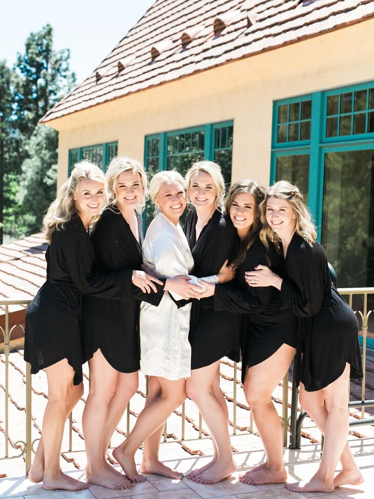 Before the ceremony, Kassi and her bridesmaids prepped together. Their black dressing gowns matched their black wedding day gowns.