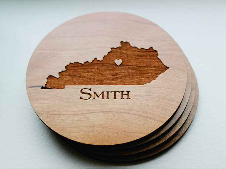 Wooden state coaster engagement gift ideas