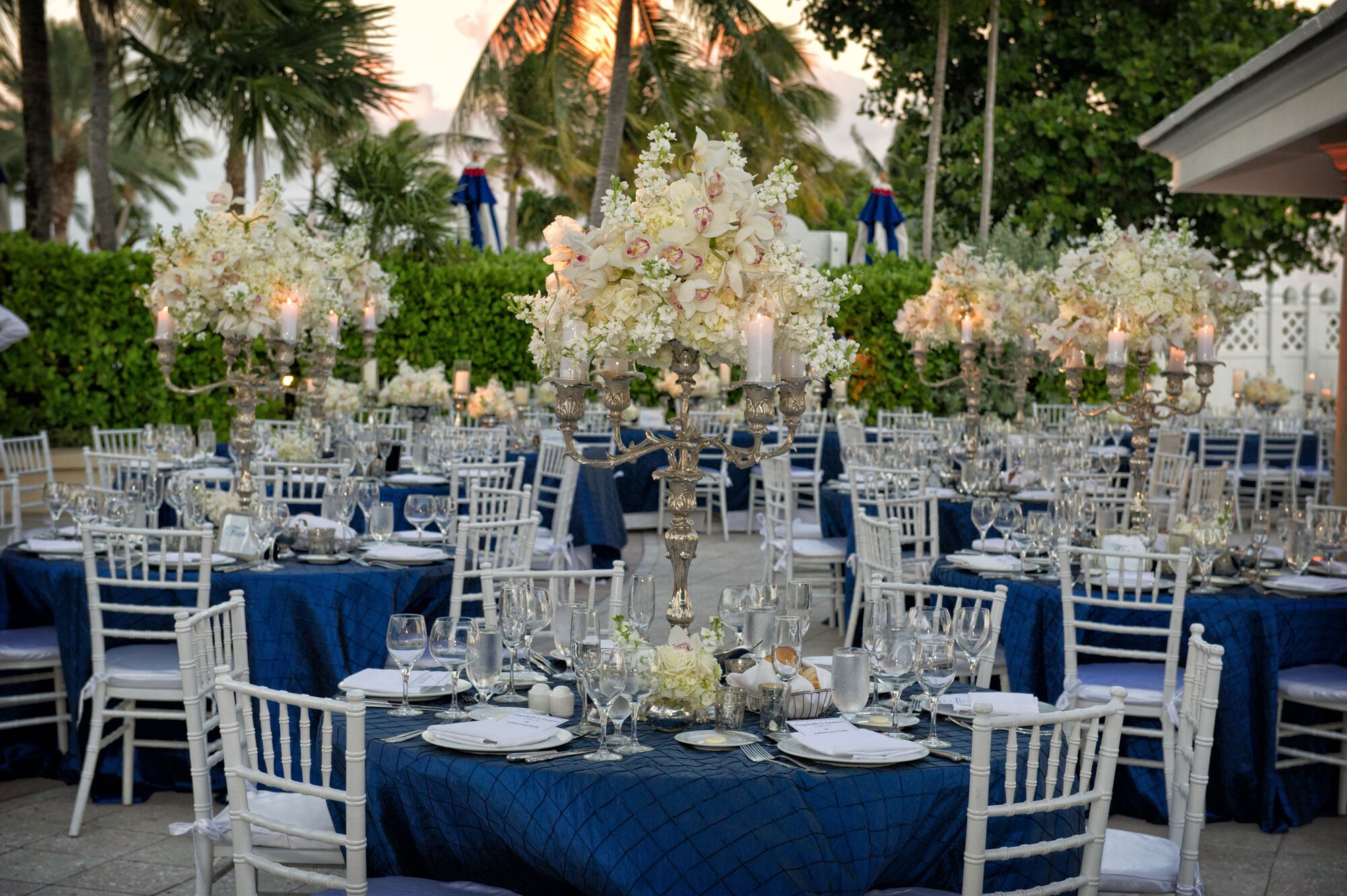 Tall White Hydrangea And Orchid Centerpiece