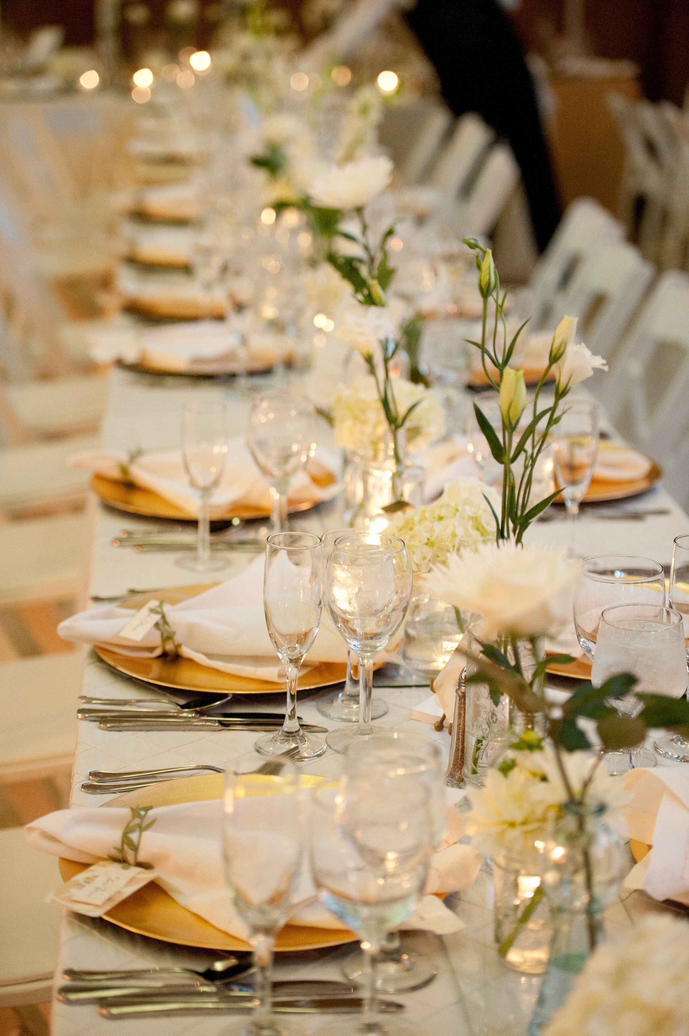 Gold White Table Settings