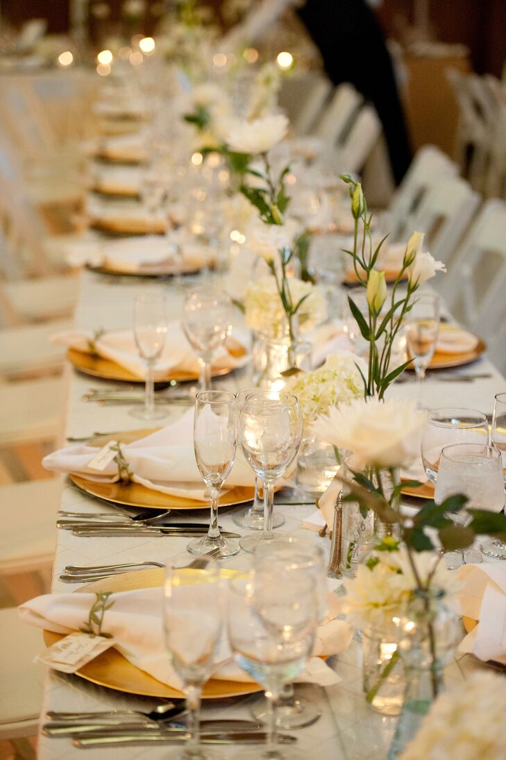 & Gold White Table Settings