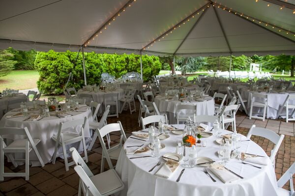 Tented Garden Reception with String Lights