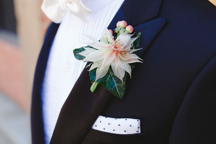 Ivory Dahlia with Berry Boutonniere