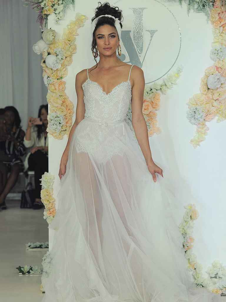 Julie Vino Fall 2018 A-line wedding dress with sheer skirt and bow detail