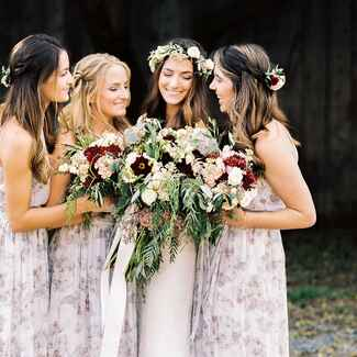 Purple abstract floral print bridesmaid dresses